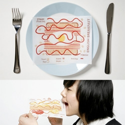 Edible Prints! Screenprints on rice paper only using food.... cute concept by Sawa Tanaka