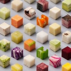Dutch newspaper De Volkskrant contacted conceptual design studio Lernert & Sander to create a piece for a special documentary photography issue about food: 98 unprocessed foods cut into extremely precise 2.5cm cubes aligned on a staggered grid.