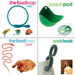New colorful silicon goodies for your kitchen ~ mini Food Loops - Poach Pods! - Food Loop Lace - magnetic Cook Hook - as well as Drizzle Stick and Tender Press