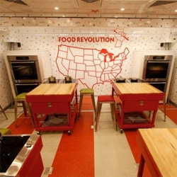 Jamie Oliver's 'Food Revolution' truck designed by the Rockwell Group, a mobile venue to educate kids, parents and professionals about healthy food and cooking.