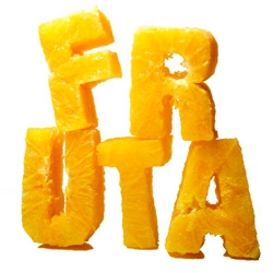 "Food Type! by Nuria Bringue. Literally text made out of the food it describes! ""The project is a collection of books on healthy eating. It consists of 7 books, each devoted to a group of the food pyramid. Typography then is cut in foods from each group."""