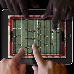 Foosball Hero turns your shiny new iPad into a gritty old, rusty and squeaky foosball table - just like the one in your favorite bar !