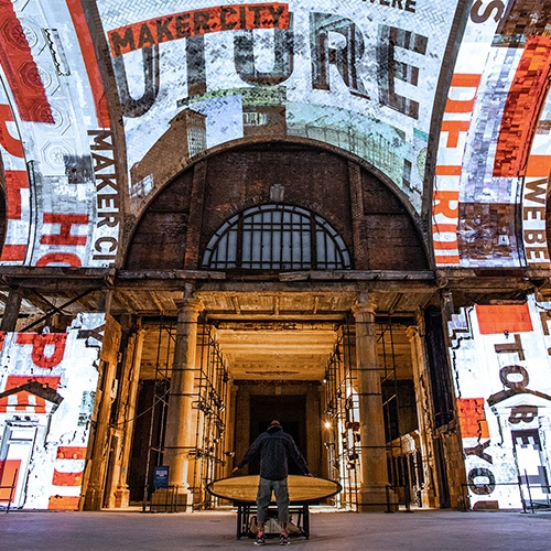 """For Detroit"" is an interactive art installation and interior experience by Red Paper Heart for The Open House, Ford Motor's announcement to renewed its commitment to the city of Detroit with the purchase and future renovation of Michigan Central Station."