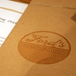Ford's Filling Station catered the FORDBRADY Dwell event ~ and i love their branding and use of the wood boards for menus