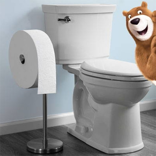 "Charmin ""Forever Rolls"" are 12"" diameter toilet paper rolls that look like absurd design objects in your bathroom with the freestanding holder. (The reviews and customer photos are worth a look... and i just ordered one for the guest bathroom)"