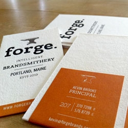 Cute business cards for Forge design studio. I love the word 'Brandsmithery'!