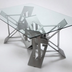 Formtank's stunning new  tables are constructed out of a single sheet of industrial steel, minimizing waste to less than 4% per meter.