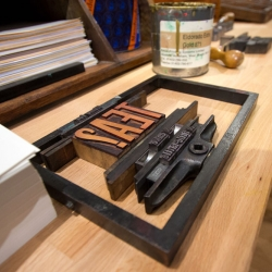 A letterpress studio from Society of Revisionist Typographers - SORT popped up inside Fortnum and Mason for the London Design Festival.