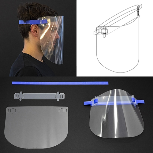 Foster + Partners prototype design for a Reusable Face Visor. All parts are laser cut - the 0.5mm optically clear PETG, an interlocking soft PP headband, and a surgical silicone rubber head strap. It is designed to be easily sterilized and reused.