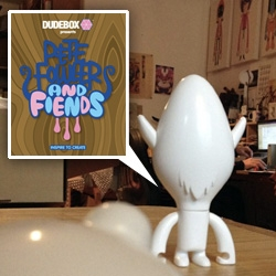 Dudebox x Pete Fowler & Fiends design contest... and new toy! Peter Fowler and Fiends, the platform style project will feature 3 shapes, each with interchangeable heads + horns/ears.