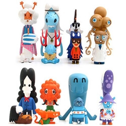 Pete Fowler's Monsterism 4 - Pets and Owners - Each figure set is packaged with both pet and owner, in special cylindrical pet food cans.
