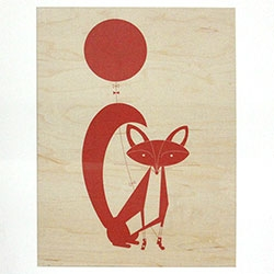 INK+WIT Fox and Owl maple wall art