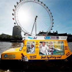 Londoners can celebrate national ice cream week with an icecream from the amphibious HMS Flake 99 commissioned by Fredericks ice cream.