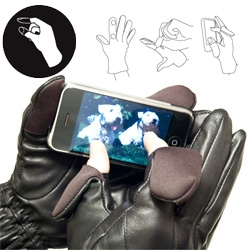 Freehands ~ gloves in leather, stretch, fleece ~ with thumb/forefinger hoods for iphone/bberrying in the cold