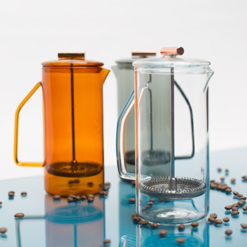 New borosilicate glass french press (850mL) by YIELD in amber, gray, and clear.