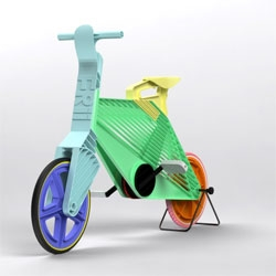 Made from recycled plastic, the Frii Bicycle by Dror Peleg is a strong, lightweight, and very colorful single speed bike for short trips through city streets.