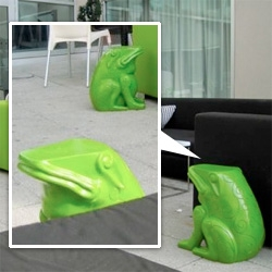 Intriguing frog side tables at the Opus Hotel Montreal