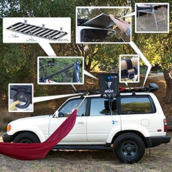 The NOTFZJ80 gets equipped with the super modular Front Runner Slimline II Roof Rack - as well as a camp table that slides in, shower arm, ratcheting shovel mount, tie down rings (that are hammock perfect!) and more!
