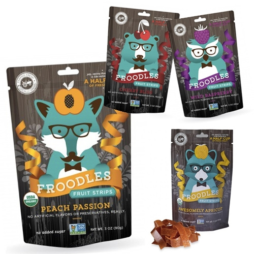 Froodles = fruit noodles (aka fruit roll up strips?) but check out the fun illustrated hipster animals on their packaging...