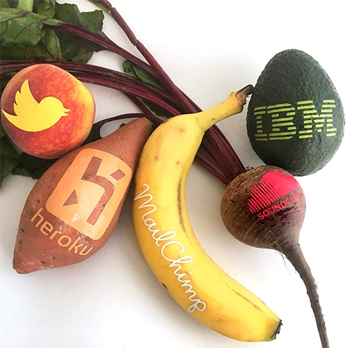 Branded Fruit by Danielle Baskin in San Francisco is the hottest new edible swag? Thin vinyl stickers logos on avocados, coconuts, pineapples, mangos and more...