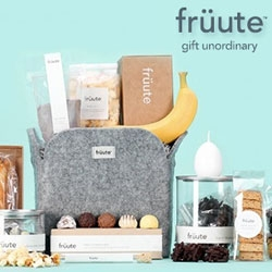 "Früute - ""gift unordinary"" - a new gift basket company out of Los Angeles where each one ""features high-quality gifts, tasty treats, and a story in every basket - a message in a bottle that puts a personalized spin on each of the gifts."""
