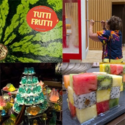 Bompas & Parr throw quite the launch party for their new book Tutti Frutti! From jellies, rubik's cubes of fruits, fruit piils, banana tornados to inhale, and more in the masonic temple hidden within the Andaz Hotel at London Liverpool Street.