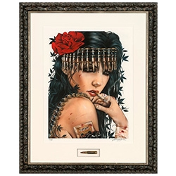 'War Child' by Brian M Viveros will be issued as a hand-embellished fine art giclee print, the framed hand-embellished edition comes with a float mounted bullet signed by Viveros.