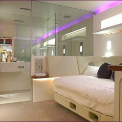 """A new line of mini luxury hotels based on japanese pod hotels and built right into the airport terminal.  Branded as """"Yotel"""" this one opens in Heathrow this spring."""