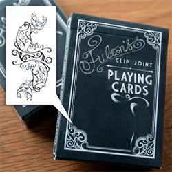 "Fulton's Clip Joint Playing Cards from Dan & Dave. Inspired by ""...a time and place where men were men, women were dames, and the next deal could be your last."""