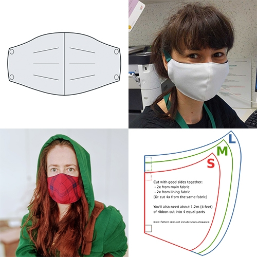 The Free Sewing Fu Face Mask Pattern is the cleanest design i've found aesthetically. (While there are many arguments on materials, styles, effectiveness, etc of DIY masks currently, I found this to be a noteworthy template to explore/tweak!)