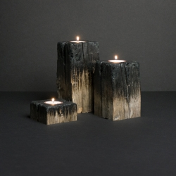 Firewood, candle holders made by Jina Seo and Jung Soo Park, is on display at Sight Unseen's OFFSITE during New York Design Week.