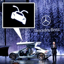 The Mercedes F 125! Hydrogen F-cell Plug-in Hybrid was unveiled tonight ~ here's an up close look at the little details press photos don't give you... love the door handle icon!