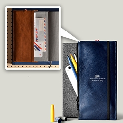 Hard Graft Trip Case and Notebook - A great multipurpose leather pouch that slips right on to a standard moleskine type notebook for all your pens, iPhone, plane tickets and more! Notebook wallet?
