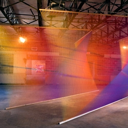 Gabriel Dawe's colorful 'Plexus' installations using Gütermann thread, wood and nails.