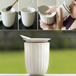 'Lotus' gaibei by Toast Living  is designed to make lid-sliding simple. The double walled porcelain 'Lotus' works both as a personal cup or a teapot to share tea.