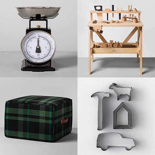 Target Hearth & Hand with Magnolia (the home and lifestyle brand of Chip & Joanna Gaines) is pretty cute for holiday gifting. Even a land cruiser looking cookie cutter! As well as fun wooden kids play sets, nice matte black kitchenware, and lots of green plaid.