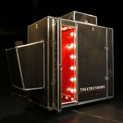 """Theatre for One"" is a portable performing arts space for one performer and one audience member, that turns public events into private acts, making each performance a singularly intimate exchange."