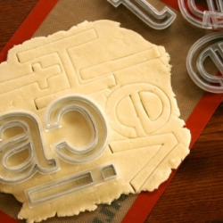 Helvetica cookie cutters, designed by Beverly Hsu.