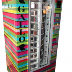 Gallo is a manufacturer of socks in Italy and has come out with these colorful vending machines selling their striped socks. Open 24 hours and they give change!