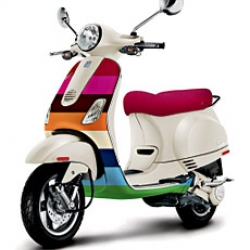 custom crazy stripe vespa by gap! (yes, the gap that makes the jeans)