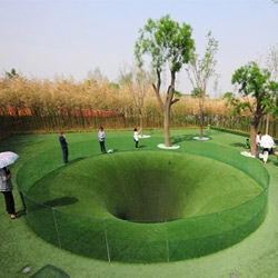 The Big Dig by Topotek1, at the new Xi'an International Horticultural Expo, builds a tunnel to the other side of the world - just like when you were 7!