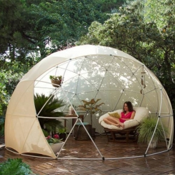 Garden Igloos multipurpose geodesic domes are designed both as a winter garden and a summer canopy.