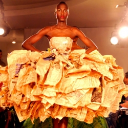 One of the upcycled couture gowns from  Gary Harvey's New York Fashion Week runway show comprised 30 copies of the Financial Times.