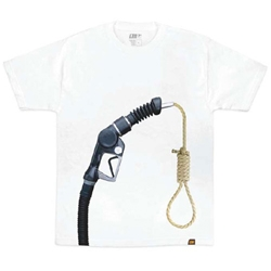 Gas prices are higher and higher so the brand Alphanumeric has created an impressive tee.  Available in two colors : black or white.