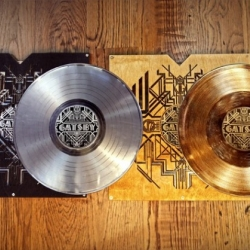 Third Man Records has releasd a limited edition gold and platinum record set for the feature film The Great Gatsby's soundtrack.  Assembled by hand, the deluxe metallized discs come packaged in a laser-cut birch wood LP jacket, riveted to aluminum spines.