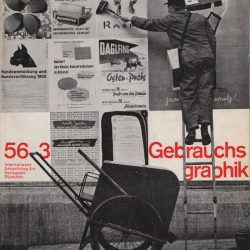 Covers from advertising and graphic design magazine, Gebrauchsgraphik, accompanied by a quote from Jan Tschichold.