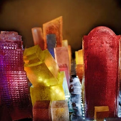 You Are Here ~ Edible Geography has a sneak peak into an exhibition at the Pratt Manhattan Gallery...  lots of cool pieces like this gelatin mapping of the Manhattan skyline.