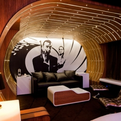 Seven Hotel located in Paris, France. This luxury hotel contains 28 suites that are decorated in seven different ways – James Bond, Marie Antoinette, Alice etc.