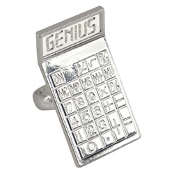 Bling your genius with this tiny genius calculator ring. i'd be more impressed if that genius was spelled with numbers upside down.