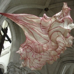 Peter Gentenaar, paper artist with extraordinary talent, with more than 100 paper sculptures on display at the abbey church of Saint-Riquier in northern France thru 19 Sept.